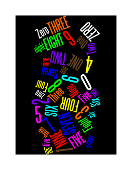NUMBERS 0 THROUGH 9 - AWW - WORDLE POSTER - BLACK WITH COLOR