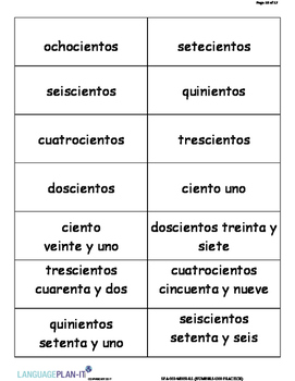 NUMBERS -1,000 PRACTICE (SPANISH 2017 EDITION)