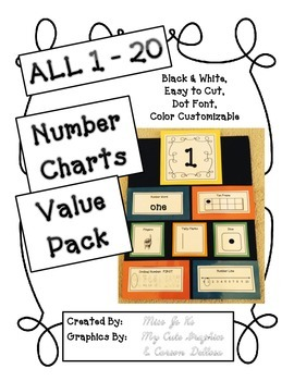 NUMBERS 1 - 20 Anchor Charts VALUE PACK- Interactive, Cust