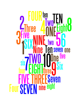 NUMBERS 1 THROUGH 10 - WORDLE POSTER - WHITE WITH COLOR