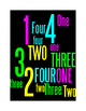 NUMBERS 1 THROUGH 4 - 2 WORD POSTERS - BLACK BACKGROUND WITH COLOR