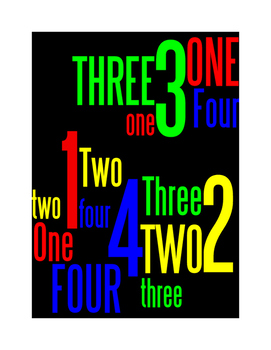 NUMBERS 1 THROUGH 4 - 2 WORD POSTERS - BLACK BACKGROUND WI