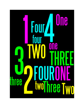 NUMBERS 1 THROUGH 4 - WORDLE POSTER - BLACK WITH COLOR(CMYK)