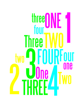NUMBERS 1 THROUGH 4 - WORDLE POSTER - WHITE WITH COLOR (CMYK)