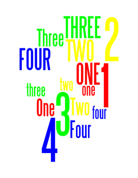 NUMBERS 1 THROUGH 4 - WORDLE POSTER - WHITE WITH COLOR (RGB)