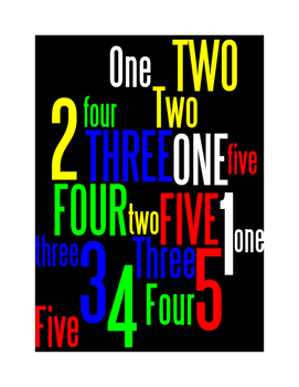 NUMBERS 1 THROUGH 5 - 2 WORD POSTERS - BLACK BACKGROUND WITH COLOR
