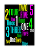 NUMBERS 1 THROUGH 5 - 4 WORD POSTERS - WHITE&BLACK BACKGRO