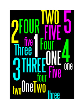 NUMBERS 1 THROUGH 5 - WORDLE POSTER - BLACK WITH COLOR(CMYK)