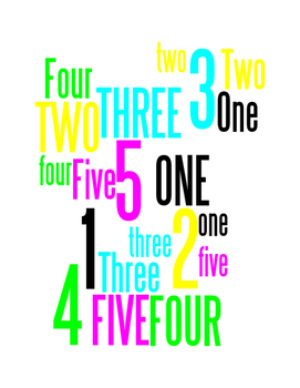 NUMBERS 1 THROUGH 5 - WORDLE POSTER - WHITE WITH COLOR (CMYK)