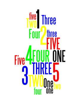 NUMBERS 1 THROUGH 5 - WORDLE POSTER - WHITE WITH COLOR (RGB)
