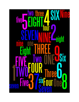 NUMBERS 1 THROUGH 9 - WORDLE POSTER - BLACK WITH COLOR