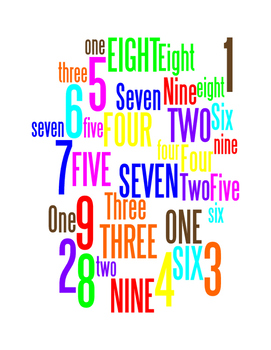 NUMBERS 1 THROUGH 9 - WORDLE POSTER - WHITE WITH COLOR