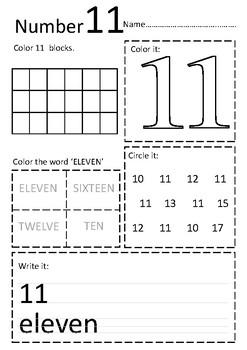 numbers 11 20 worksheets by onphamon teachers pay teachers. Black Bedroom Furniture Sets. Home Design Ideas