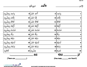 NUMBERS AND COLORS VOCABULARY(ARABIC 2015 EDITION)