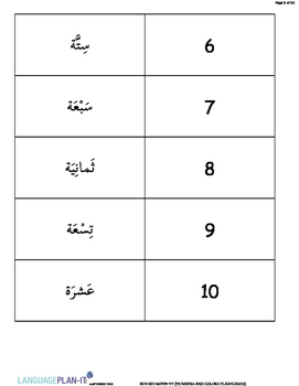 NUMBERS AND COLORS FLASHCARDS(ARABIC)