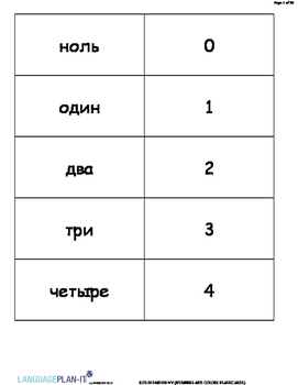 NUMBERS AND COLORS FLASHCARDS (RUSSIAN)