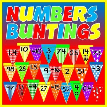 NUMBERS BUNTINGS - DISPLAY 10-100 DECIMALS NEGATIVE NUMBERS EARLY YEARS KS1-2
