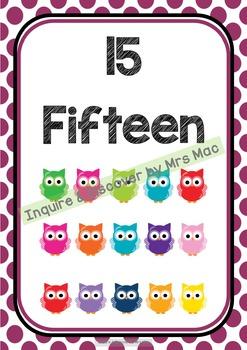 Back To School - NUMBERS CHART - Owls - Classroom Decor - Polka Dots
