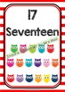 Back To School NUMBER CHART - Owls - Classroom Decor - Stripes