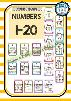 Back To School - NUMBER CHART - Kids - Classroom Decor - Stripes