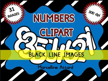 NUMBERS CLIPART WITH A WHITE FILL: NUMBER TEMPLATES CLIPART: BLACK AND WHITE