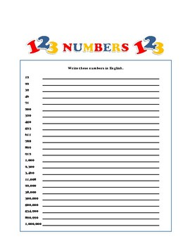 NUMBERS IN ENGLISH - PRACTICE