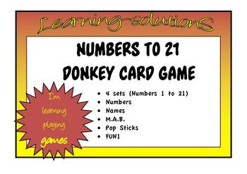 NUMBERS, NAMES, M.A.B., POP STICKS - DONKEY CARD GAME - Numbers to 21