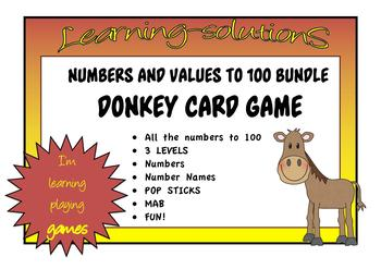 NUMBERS, NUMBER NAMES, POP STICKS, MAB BUNDLE - to 100 with DONKEY Card Games