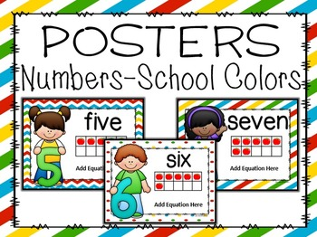 School Colors Number Posters