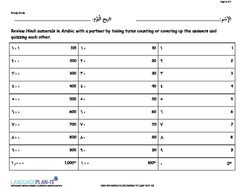 NUMBERS TO 1,000 TEST (ARABIC-HINDI)