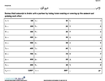 NUMBERS TO 1,000 TEST (ARABIC-HINDI)