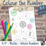 NUMBERS TO 10 Shade Colour the Number Subitising Printable