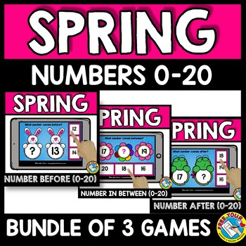 NUMBERS TO 20 BOOM CARDS BUNDLES (SPRING ACTIVITY KINDERGARTEN MAY MATH)
