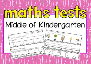 NUMERACY ASSESSMENTS Middle of Kindergarten