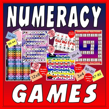 NUMERACY BOARD GAMES- KS1 KS2 KS3 MATHS FRACTIONS NUMBERS TIMES DIVIDE MONEY