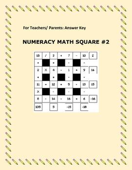 NUMERACY MATH SQUARE #2
