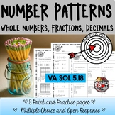 NUMERIC PATTERNS | WHOLE NUMBERS FRACTIONS DECIMALS GRADE
