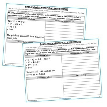 NUMERICAL EXPRESSIONS BUNDLE Error Analysis, Graphic Organizers, Puzzles