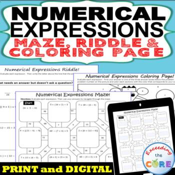 NUMERICAL EXPRESSIONS Maze, Riddle, Coloring Page (Fun MATH Activities)