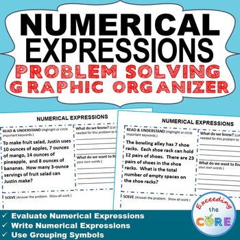 NUMERICAL EXPRESSIONS Word Problems with Graphic Organizers