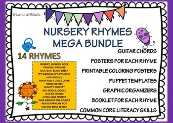Nursery Rhyme Literacy Bundle with Puppets, Booklets, and