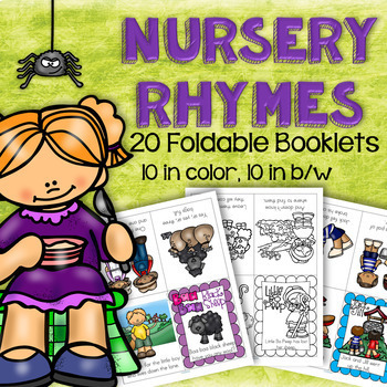 NURSERY RHYMES Foldable Booklets for Preschool and Kindergarten in Color & B/W