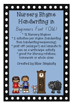 NURSERY RHYMES HANDWRITING in Beginners font (Qld)