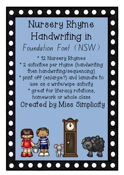 NURSERY RHYMES HANDWRITING in Foundation Font (NSW)