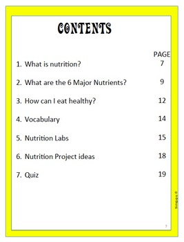 NUTRITION, An Interactive Notebook.
