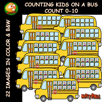 NUTTY PIXEL'S -TEN FRAME -COUNTING KIDS ON A BUS Clip Art