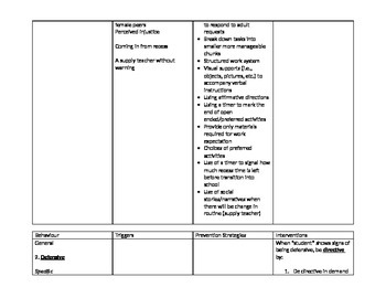 NVCI CPI Safety Plan for Student with Autism ASD (sample worksheet)