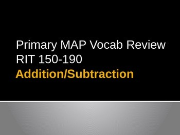 NWEA Math Addition/Subtraction DesCartes Vocabulary Primary MAP Review