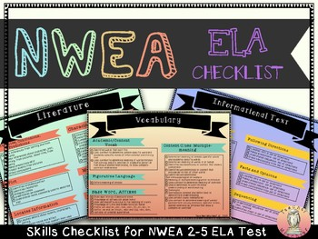 NWEA MAP 2-5 Test: ELA Checklist in Color