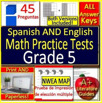 5th Grade NWEA MAP Bilingual Math: Test Prep Practice - English AND on